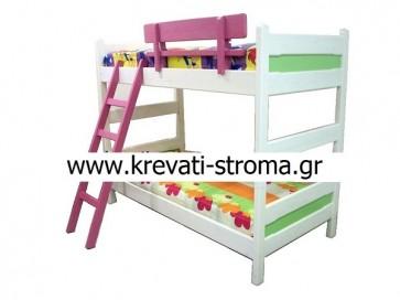 Διόροφη κουκέτα κρεβάτι ξύλινη μασίφ σε πολλά χρώματα και ετοιμοπαράδοτη