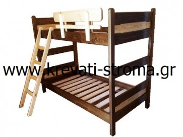 Διπλή,δίπατη κουκέτα ρουστίκ στο χρώμα του ξύλου ή στο χρώμα καρυδιά σε τιμή προσφοράς