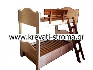 Δύο κρεβάτια παιδικά μονά σε διπλή-διόροφη κουκέτα διαιρούμενη μασίφ ξύλινη