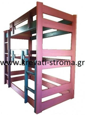 Κουκέτα κρεβάτι μασίφ ξύλο για τρία παιδιά