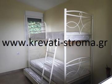 Κουκέτα σίδερο-μέταλλο για τρία άτομα με συρταρωτό-συρόμενο κρεβάτι