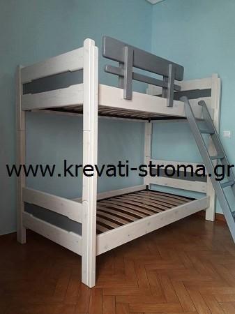 Κουκέτα διαιρούμενη σε δύο κρεβάτια μασίφ ξύλο πεύκο