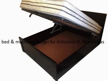 Κρεβάτι διπλό ξύλινο mdf οξιά με αποθηκευτικό χώρο