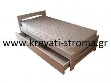 Κρεβάτι μασίφ ξύλο λευκό-άσπρο με αποθηκευτικό χώρο