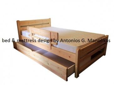 Κρεβάτι μασίφ σουηδικό ξύλο με συρτάρι