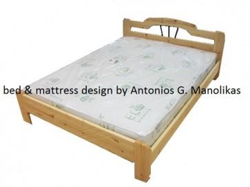 Κρεβάτι μασίφ ξύλο με σίδερο eco