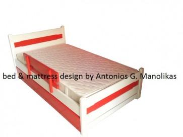 Κρεβάτι από μασίφ ξύλο παιδικό με αποθηκευτικό και προστατευτικό