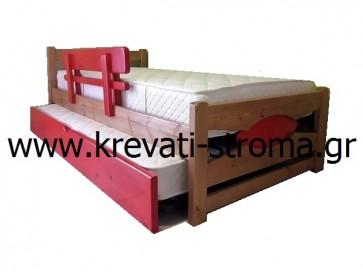 Κρεβάτι μασίφ ξύλο πεύκο σε διάσταση μονού ή ημίδιπλου κομπλέ σετ με δύο στρώματα,βοηθητικό κρεβάτι και προστατευτικό