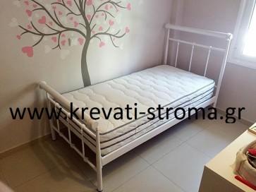 Κρεβάτι παιδικό μεταλλικό ημι μασίφ λευκό-άσπρο