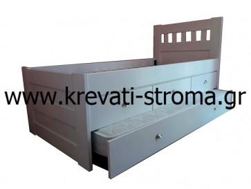 Δύο κρεβάτια και αποθηκευτικός χώρος με συρτάρια