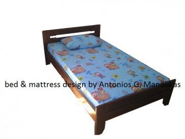 Κρεβάτι ξύλινο μασίφ πεύκο καρυδί μονό,ημίδιπλο,διπλό