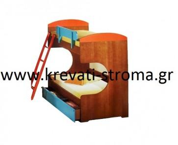 Δύο κρεβάτια μονά πάνω-κάτω σε κουκέτα ξύλινη