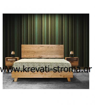 Κρεβατοκάμαρα μοντέρνα σε minimal ύφος (κρεβάτι διπλό,2 κομοδίνα) από ακατέργαστο δρυς για στρώμα εμφανή.ΕΤΟΙΜΟΠΑΡΑΔΟΤΗ