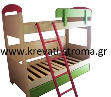 Παιδική κουκέτα διόροφη με τρίτο κρεβάτι ή αποθηκευτικό χώρο