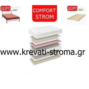 Στρώμα comfort strom victory ανατομικό με ανώστρωμα σε μέτρα 090χ190 ή 090χ200 και δώρο κρεβάτι μεταλλικό και τάβλες βάσης
