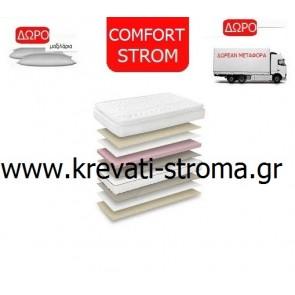 Στρώμα ορθοπεδικό comfort strom elegant με ανώστρωμα από 81 έως 90 πόντους φάρδος και δωρεάν μεταφορικά και πλενόμενο μαξιλάρι