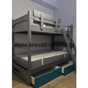 Διπλό κρεβάτι για παιδικό δωμάτιο ύπνου από μασίφ ξύλο κομπλέ σετ με αποθηκευτικό χώρο τάβλες και στρώματα ορθοπεδικά σε τιμή προσφοράς