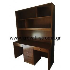 Γραφείο βιβλιοθήκη για δύο παιδιά στο χρώμα του ξύλου σε τιμή προσφοράς stock -50%
