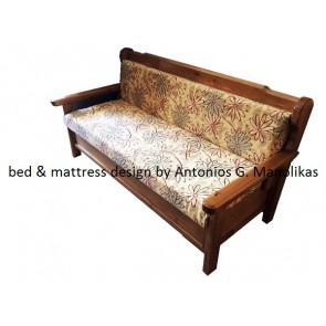 Καναπές κρεβάτι ξύλινος μασίφ πεύκο-ντιβανομπάουλο