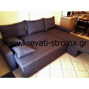 Καναπές κρεβάτι γωνιακός ντυμένος με ύφασμα επιλογής σας που κοιμίζει έως τρία άτομα και σε ειδικές διαστάσεις