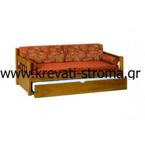 Καναπές κρεβάτι με συρόμενο δεύτερο συρτάρι από ξύλο μασίφ και σίδερο για 2 άτομα