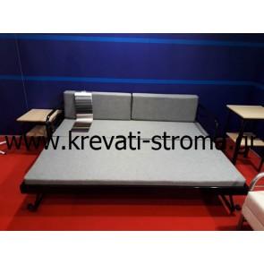 Καναπές με δύο κρεβάτια και στρώματα μεταλλικός κομπλέ σετ με στρώματα και υφάσματα σε τιμή προσφοράς