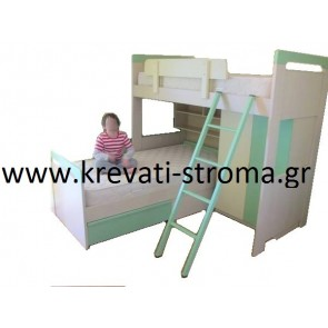 Κουκέτα γωνία διόροφη με ντουλάπα και κρεβάτια