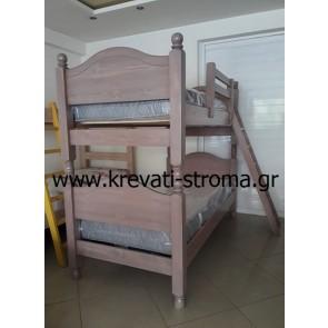 Κουκέτα ξύλινη μασίφ εξ' ολοκλήρου με δυνατότητα δύο μονών κρεβατιών,για ασφάλεια και προστασία χρησιμοποιείται κολόνα στήριξης (7χ7 πόντους)
