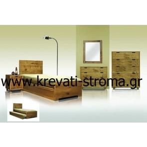 Κρεβάτι mdf ακατέργαστο δρυς τετράγωνο απλό στο χρώμα του ξύλου με δυνατότητα αποθηκευτικού χώρου και τα έπιπλα για όλο το υπνοδωμάτιο