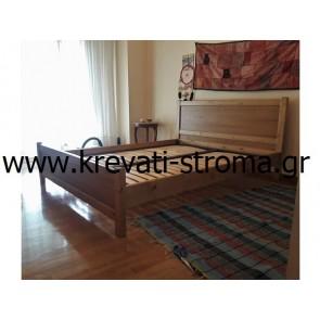 Κρεβάτι διπλό από οικολογικό ξύλο πεύκο και οικολογική βαφή νερού στο χρώμα του ξύλου και ανατομικό τελάρο για σωστή στήριξη του στρώματος