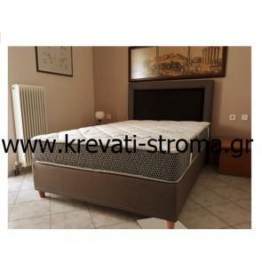 Κρεβάτι υφασμάτινο για στρώμα διπλό ή υπέρδιπλο ντυμένο με ύφασμα επιλογής σας σε οικονομική τιμή προσφοράς