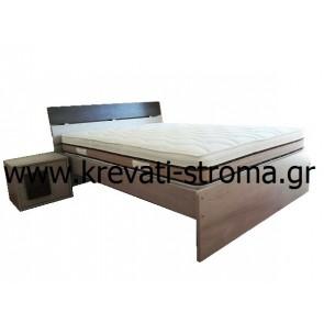 Κρεβάτι διπλό ξύλινο κομπλέ με στρώμα 150χ200 και σανίδες μοντέρνο σε minimal σχεδιασμό,σε πολλά χρώματα