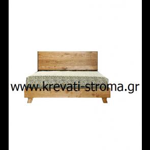 Κρεβάτι διπλό ξύλινο από ακατέργαστο ξύλο δρυς σε μοντέρνα minimal γραμμή για διπλό στρώμα διάστασης 150χ200.ΕΤΟΙΜΟΠΑΡΑΔΟΤΟ