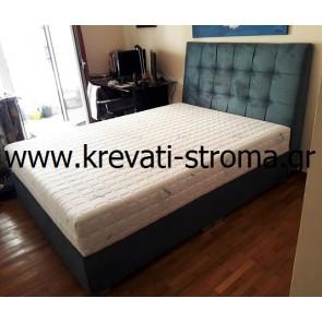 Κρεβάτι διπλό υφασμάτινο ελληνικής κατασκευής (όχι εισαγωγής) με αποθηκευτικό χώρο και υφάσματα επιλογής σας