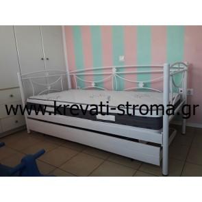 Κρεβάτι και καναπές από σίδερο-μέταλλο σε διάφορα χρώματα με βοηθητικό κρεβάτι με ρόδες