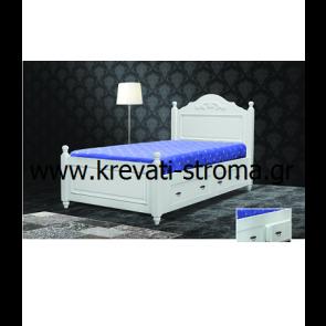 Κρεβάτι διπλό κλασσικό με σκάλισμα σαν παλιό σε ξύλο βαμμένο σε λευκή-άσπρη λάκα ή πατίνα με αποθηκευτικό χώρο για ρούχα