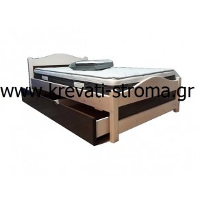 Κρεβάτι μασίφ ξύλο σε λευκό-καρυδί χρώμα + αποθηκευτικός συρταρωτός χώρος + στρώμα ορθοπεδικό με 12 χρόνια εγγύηση και κοκοφοίνικα + σανίδες βάσης +μαξιλάρι μνήμης