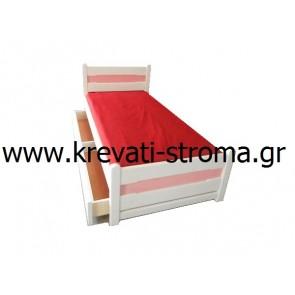 Κρεβάτι ημίδιπλο ξύλινο μασίφ για στρώμα 110 φάρδος με συρτάρι για αποθηκευτικό χώρο ή δεύτερο συρταρωτό κρεβάτι σε οικονομική τιμή προσφοράς