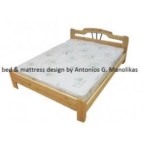 Κρεβάτι διπλό μασίφ ξύλο σε φυσικό χρώμα με σίδερο eco choice