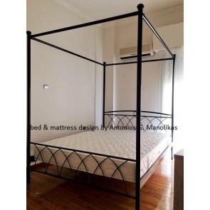 Κρεβάτι διπλό μεταλλικό-σιδερένιο με ουρανό-σοφίτα