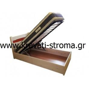 Κρεβάτι με αποθηκευτικό χώρο μπαούλο με μηχανισμό ανάκλισης με μπουκάλες από μασίφ ξύλο πέυκο