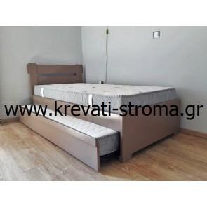 Κρεβάτι ημίδιπλο - ενιμισάρι μασίφ ξύλινο με τάβλες-σανίδες,κρεβάτι υψηλής αντοχής για δύο στρώματα με βοηθητικό κρεβάτι με ρόδες αυτόνομο