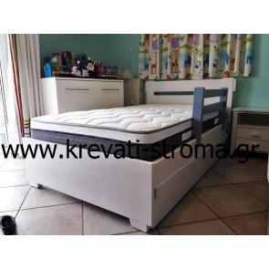 Κρεβάτι μασίφ με συρταρωτό δεύτερο κρεβάτι φιλοξενούμενου ή αποθηκευτικό χώρο για ρούχα,κάγκελο προστασίας σε χρώμα λευκό,γκρι,μόκα,φυσικά και καρυδί