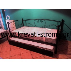 Κρεβάτι μεταλλικό σαν καναπές με μπράτσα και πλάτη για δύο άτομα με βοηθητικό κρεβάτι συρταρωτό συρόμενο