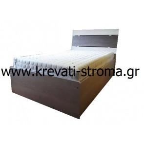 Κρεβάτι μονό minimal μοντέρνο με μηχανισμό ανάκλισης με ανατομικό τελάρο και μπουκάλες με αποθηκευτικό χώρο μπαούλο
