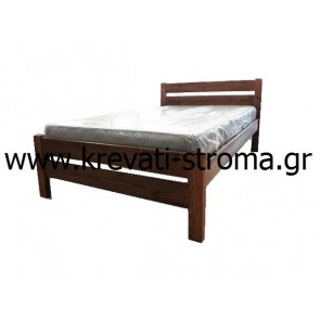 Κρεβάτι ημίδιπλο από ξύλο μασίφ πεύκο σε καρυδί χρώμα κατάλληλο για εξοχικά σε νησιά,χωριά ή για φοιτητές
