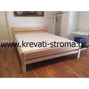 Κρεβάτι οικονομικό-φθηνό αλλά υψηλής αντοχής ημίδιπλο για στρώμα 110 από μασίφ ξύλο πεύκο σε χρώμα φυσικό ή καρυδί σε τιμή προσφοράς