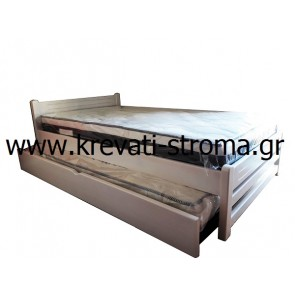 Κρεβάτι παιδικό με αποθηκευτικό χώρο συρταρωτό μονό (0.90 στρώμα) από μασίφ ξύλο σε πολλά χρώματα