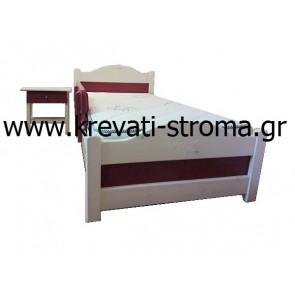 Κρεβάτι ξύλινο μασίφ πεύκο με οικολογική βαφή νερού για μικρό κορίτσι κομπλε σετ με προστατευτικό κάγκελο,τάβλες,στρώμα ορθοπεδικό και κομοδίνο σε τιμή οικονομική προσφοράς