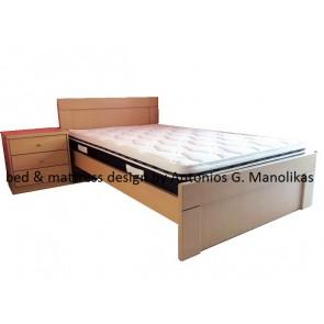 Κρεβάτι ξύλινο mdf δρυς μονό ημίδιπλο διπλό προσφορά